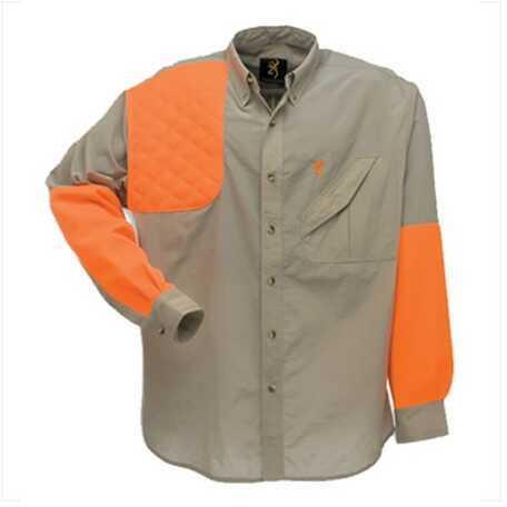 Browning Cross Country Upland Long Sleeve Shirt Khaki/Blaze, Large Md: 3011935803