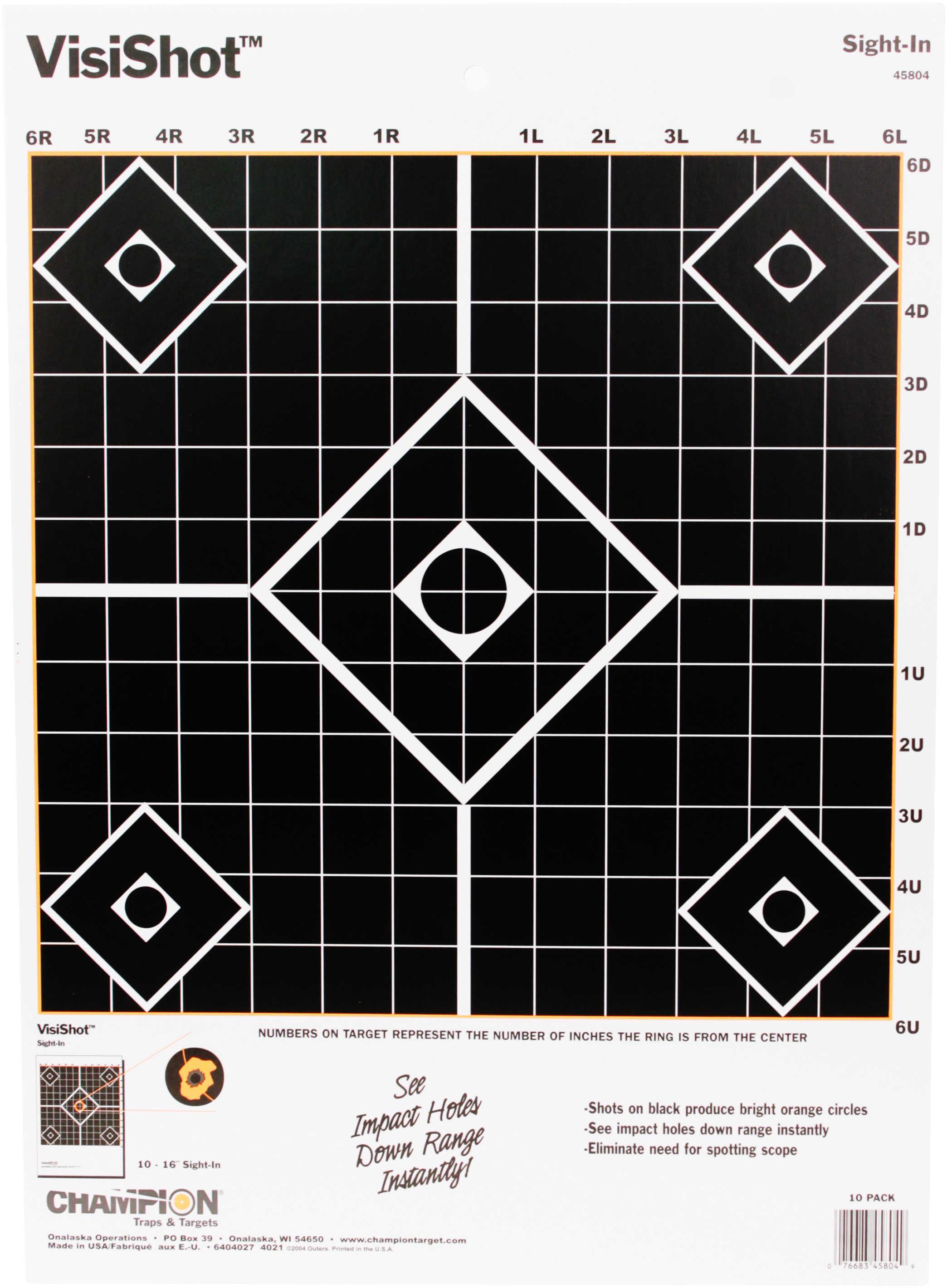 """Champion Targets 45804 VisiShot Hanging Paper 13"""" x 18"""" 5-Diamond Black 10 Pack"""