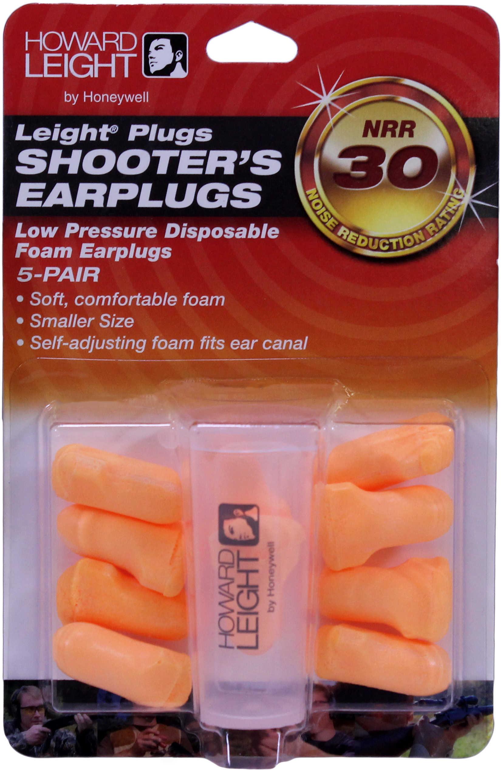 Howard Leight R01517 Low Pressure Foam Earplugs 5 Pairs 30 dB Orange