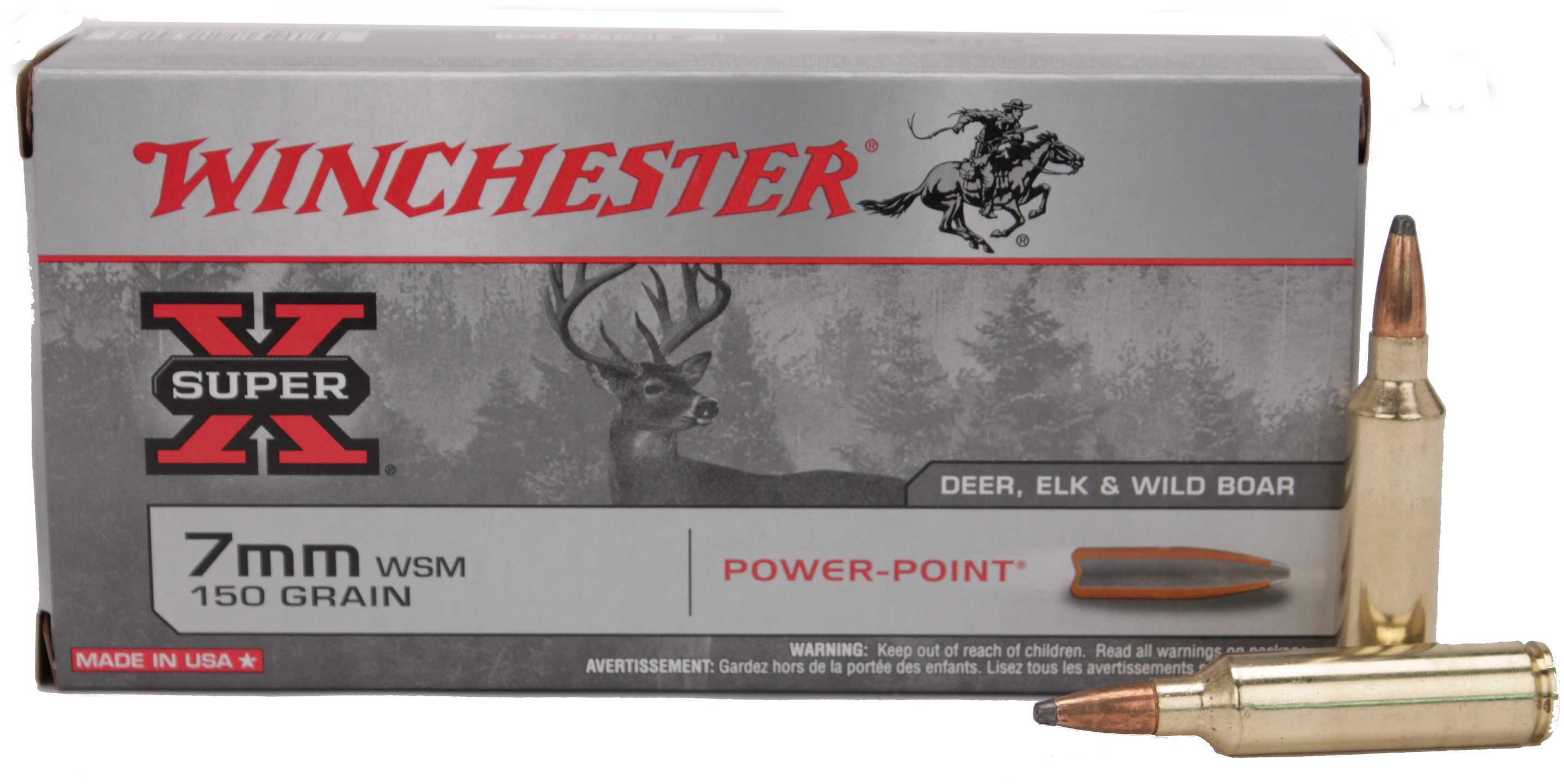 Winchester 7MM Winchester Short Magnum 150 Grain Power-Point Bullet 20 Rounds Per Box Ammunition Md: X7MMWSM
