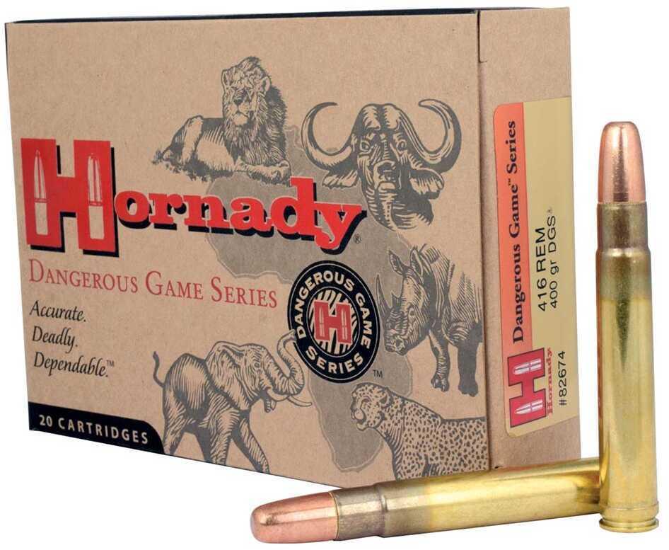 Hornady 82674 Dangerous Game 416 Remington Magnum 400 GR DGS 20 Box
