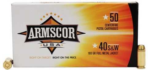 Armscor 40 S&W 180 Grain FMJ (Per 50) Ammo Md: 50081
