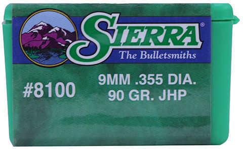 """Sierra 9MM 90 Grains JHP .355"""" 100/Box Bullets"""