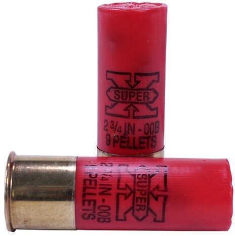 Winchester Super-X 12 Gauge 2.75 Inch 00 Buck 9-Pellet Shotshells, 5 Rounds Per Box Md: XB1200
