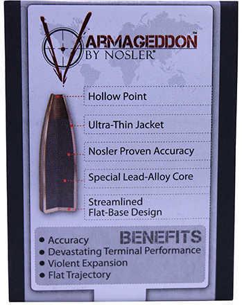 Nosler Varmageddon Bullets 22 Caliber 55 Grains FBHP/100 Md: 17235