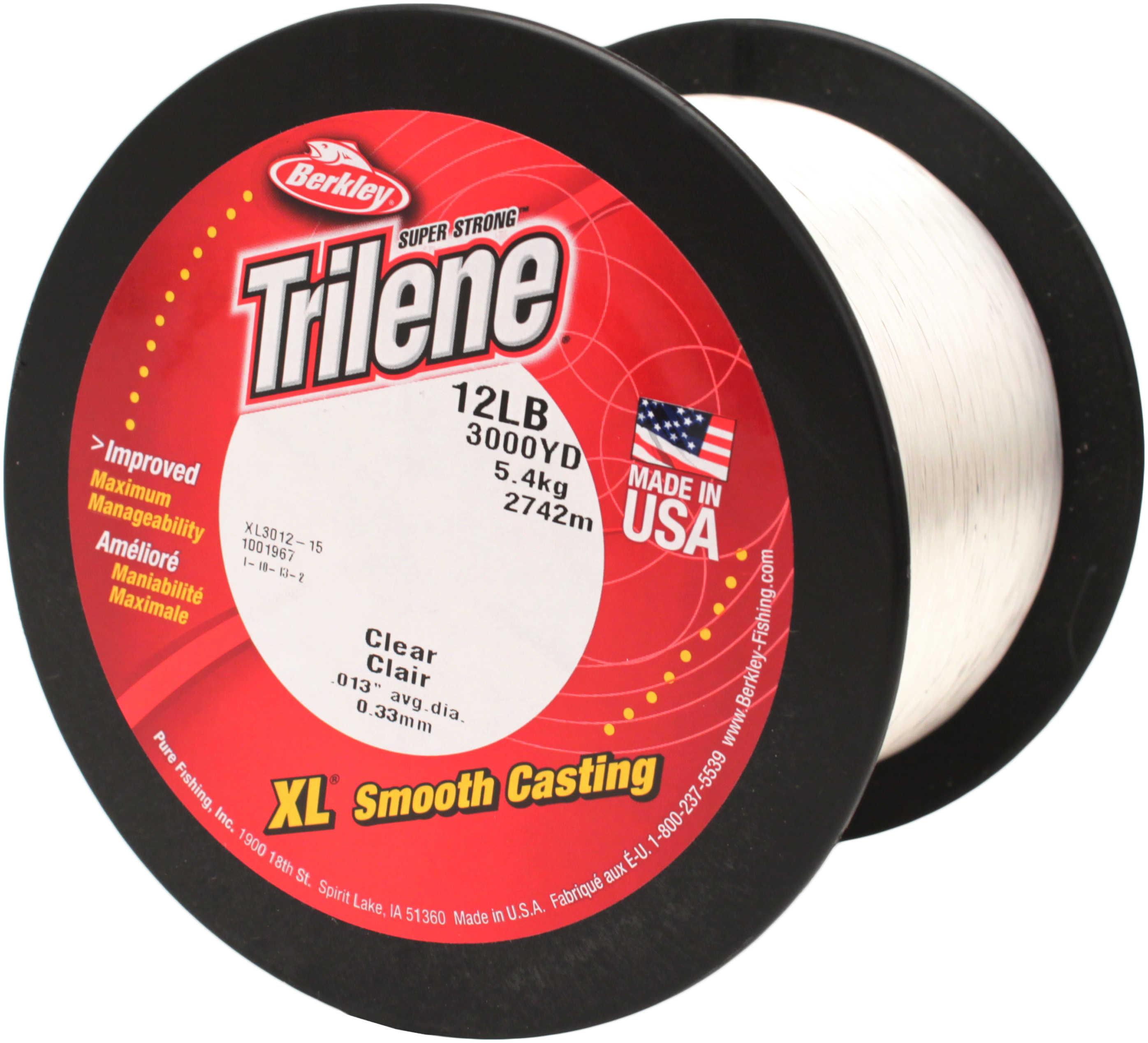 Berkley Trilene Xl Line 3000Yd 12# Clear Md#: Xl3012-15