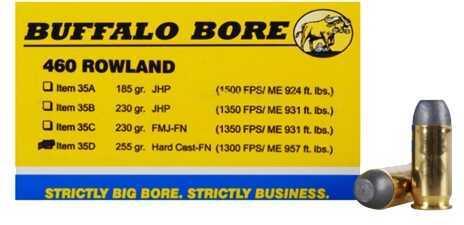 Buffalo Bore 460 Rowland 255 Grain Hard Cast Flat Nose Ammunition 20 Per Box