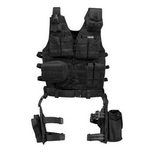 Barska Loaded Gear VX-100 Tactical Vest And Leg Platform-Blk