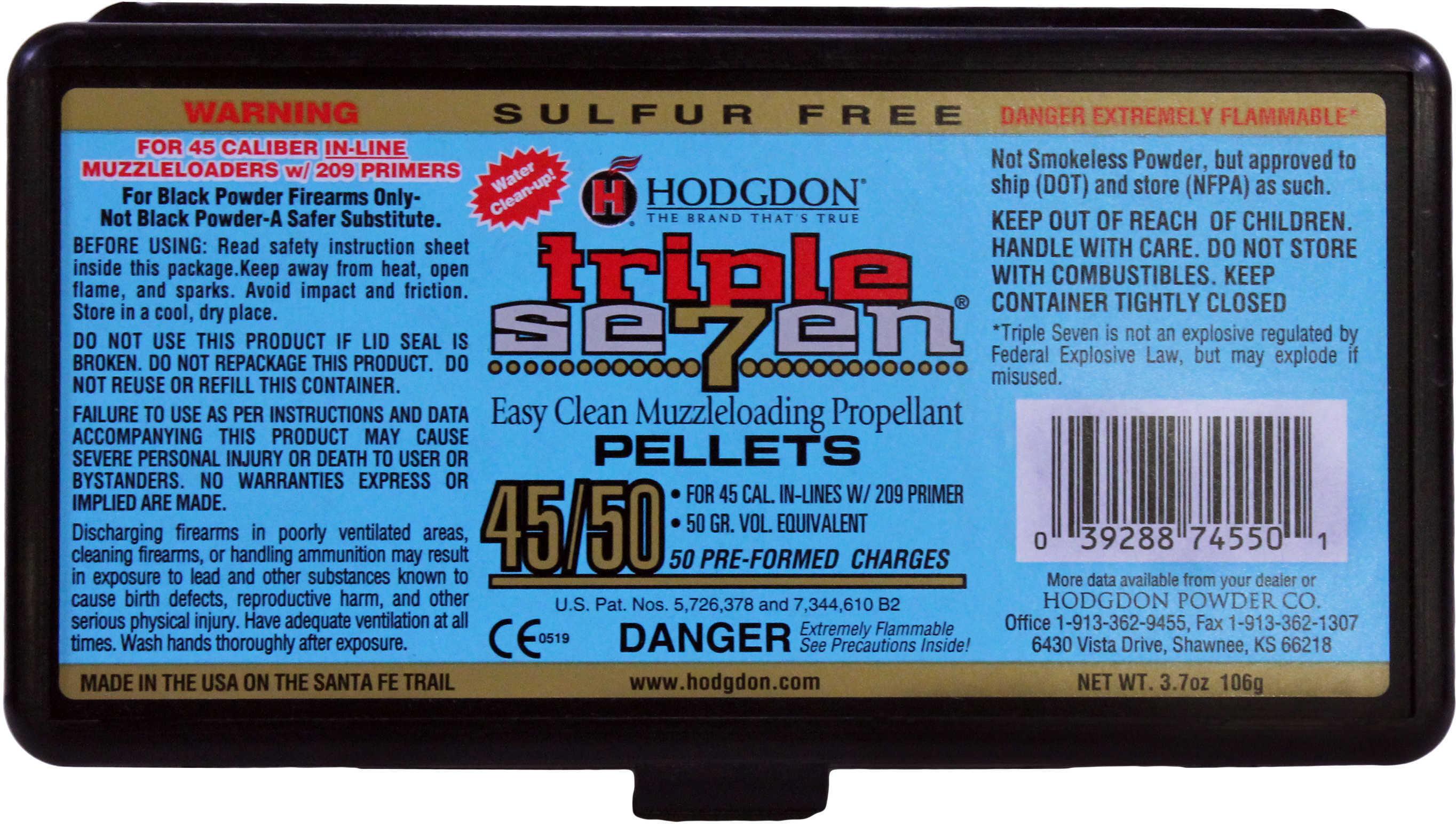 Hodgdon Triple Seven Pellets .45 Caliber 50 gr. 50 pk. HAZMAT Model: T74550