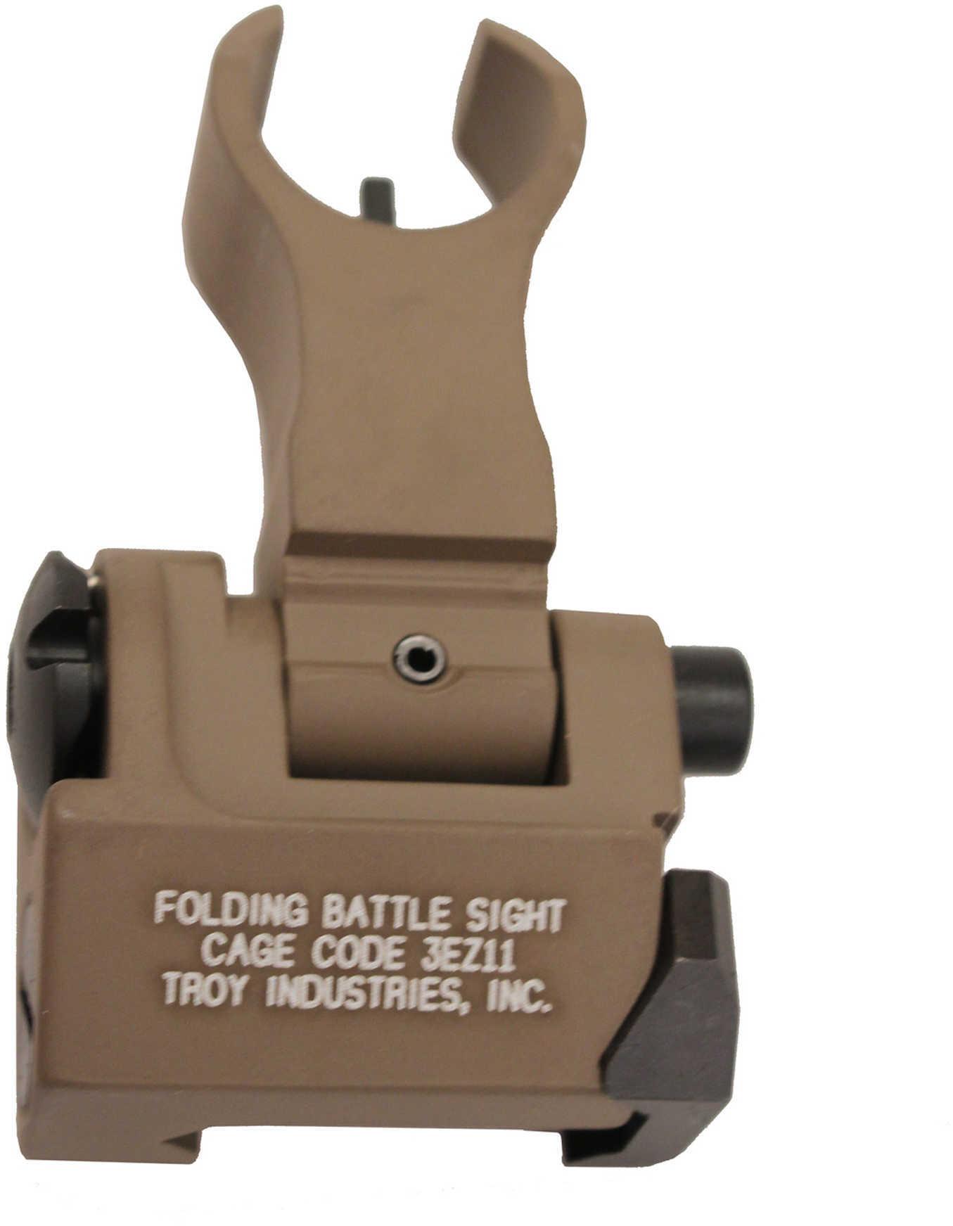 Troy Ind SSIGFBSFHFT BattleSight Front Folding HK AR-15/M4/M16 Aluminum FDE