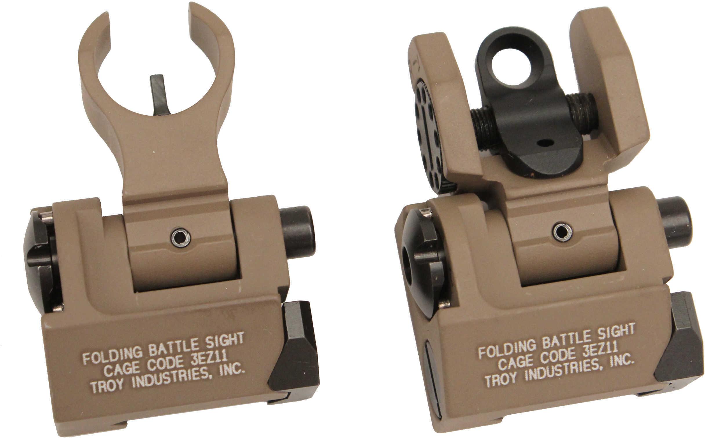 Troy Ind SSIGIARSMFT BattleSight Micro Set HK Front/Round Rear Weapons w/Raised Top Rail Picatinny Mount Aluminum FDE