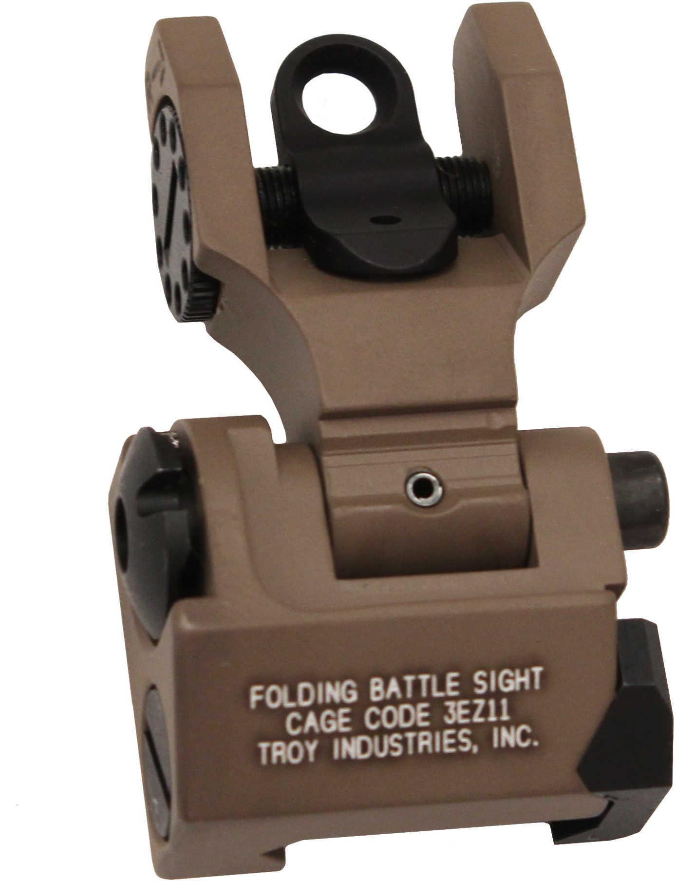 Troy Ind SSIGFBSROFT Battle Sight Rear Folding AR-15/M4/M16 FDE