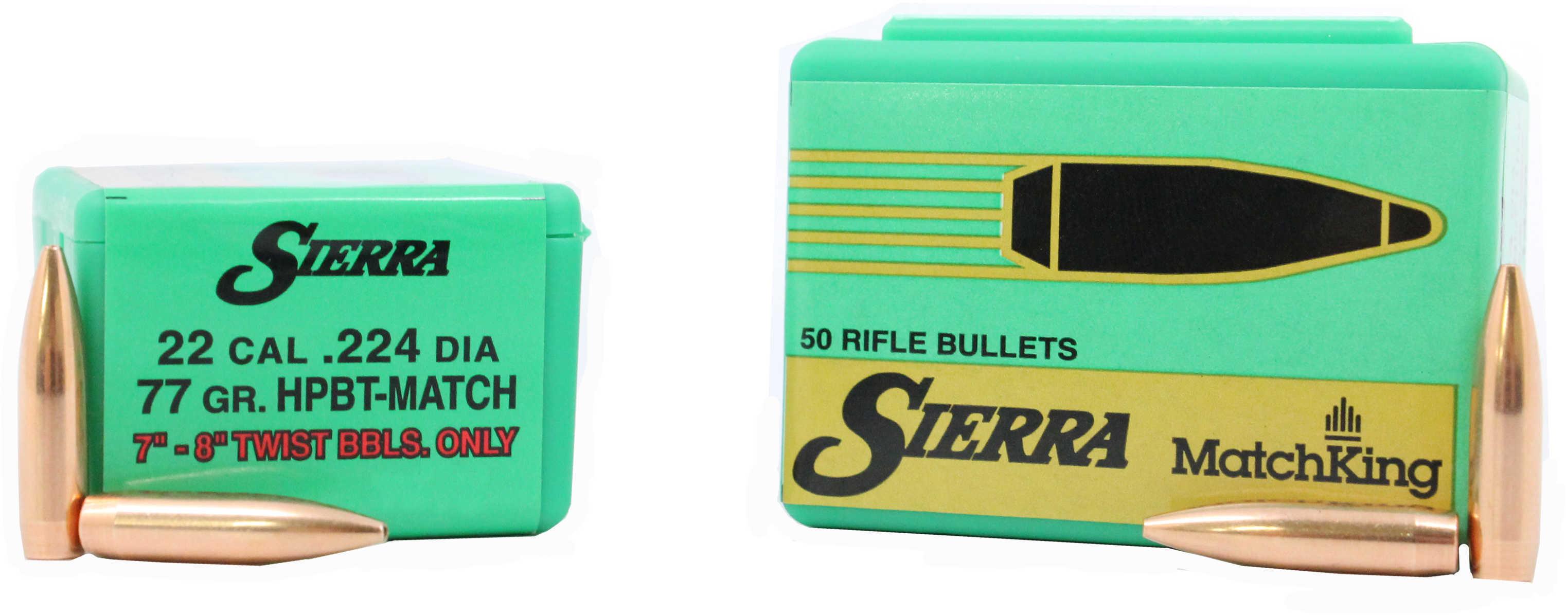 Sierra 9377T MatchKing 22 Caliber .224 77 GR Hollow Point Boat Tail (HPBT) 50 Box