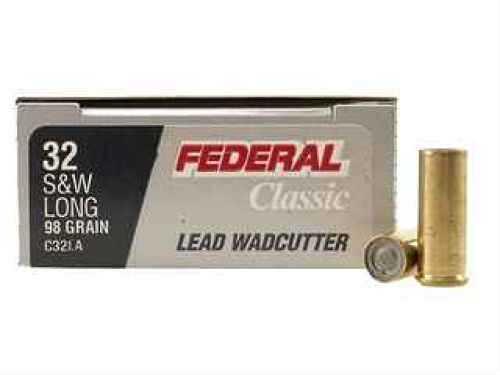 Federal 32 Smith & Wesson Long 32 S&W Long 98 Grain Lead Wadcutter Per 20 Ammunition Md: C32LA