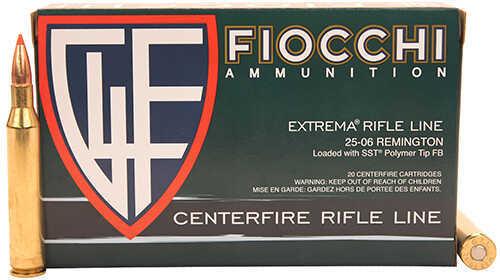 Fiocchi Ammo 25-06 Remington 117 Grains, SST Polymer Tip FB Ammunition, 20 Rounds Per Box