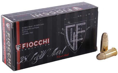 Fiocchi 38 S&W Short 145 Grain Lead Round Nose Ammunition, 50 Rounds Per Box Md: 38SWSHL