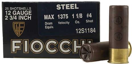 """Steel 12 Gauge 2.75"""" 1 1/8 Oz (Per 25) Size 4 Md: 12S1184"""
