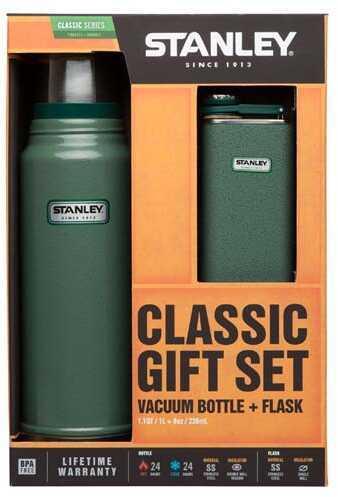 Classic Vacuum Bottle 1.1 Quart + Flask Gift Set Green Md: 10-01025-001