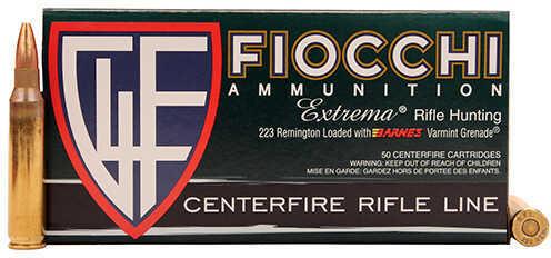 Fiocchi Ammo 223 Remington - 50 Grains, Barnes Varmint Grenade, Per 50 Md: 223VGNT