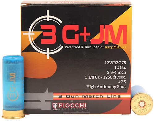 """Fiocchi Ammo 3 Gun Match, 12 Gauge 2 3/4"""", 7 1/2 Shot, 1 1/8 Oz, Per 25 Md: 12WR3G75"""