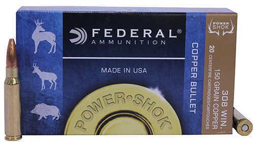 Federal Cartridge 308 Winchester 150 Grains, Copper Power-Shok, Per 20 Md: 308150LFA