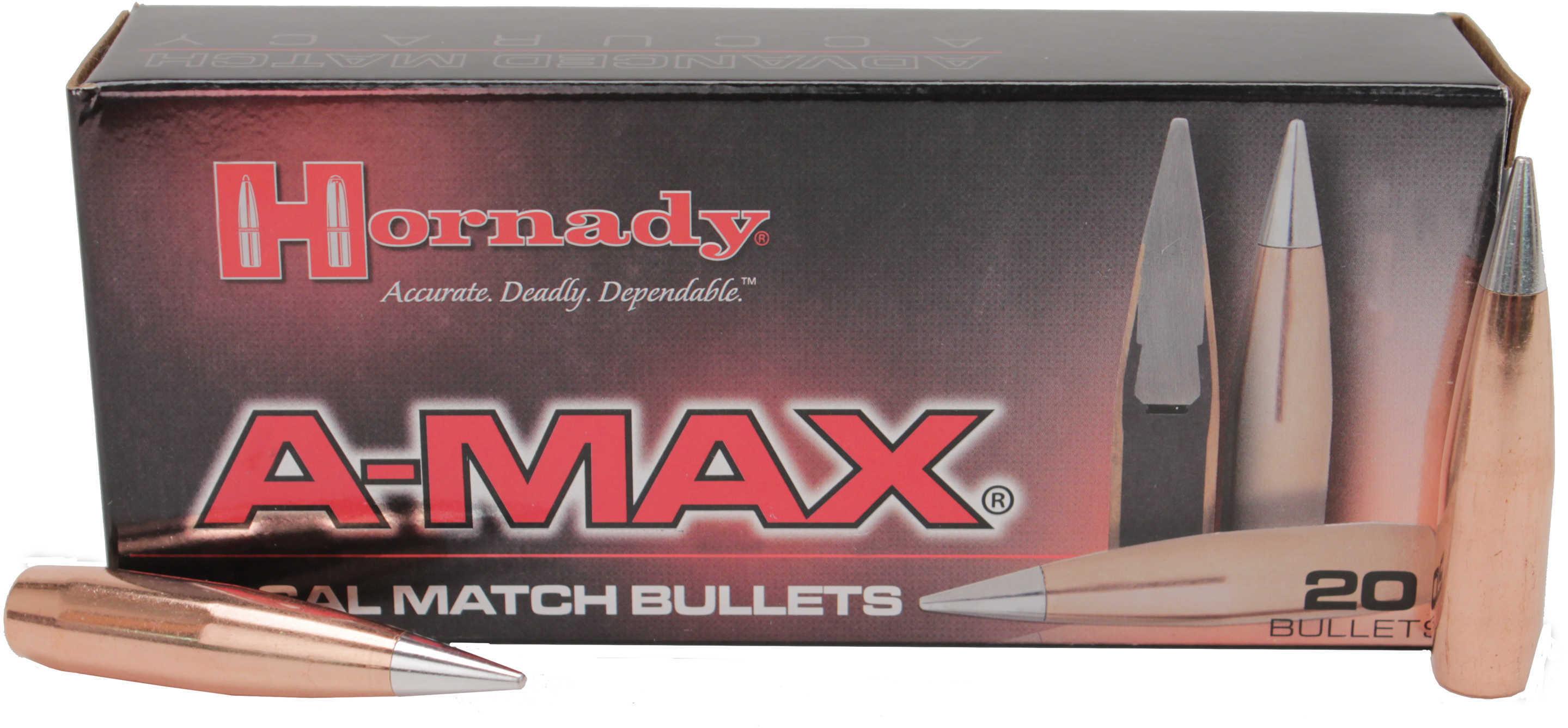 Hornady A-Max BMG 50 Caliber 750 Grain Boat Tail Component Bullets, 20 Per Box