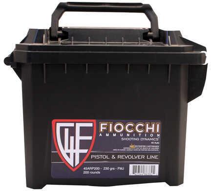 Fiocchi 45 ACP 230 Grain Full Metal Jacket Ammunition, 200 Rounds Per Box