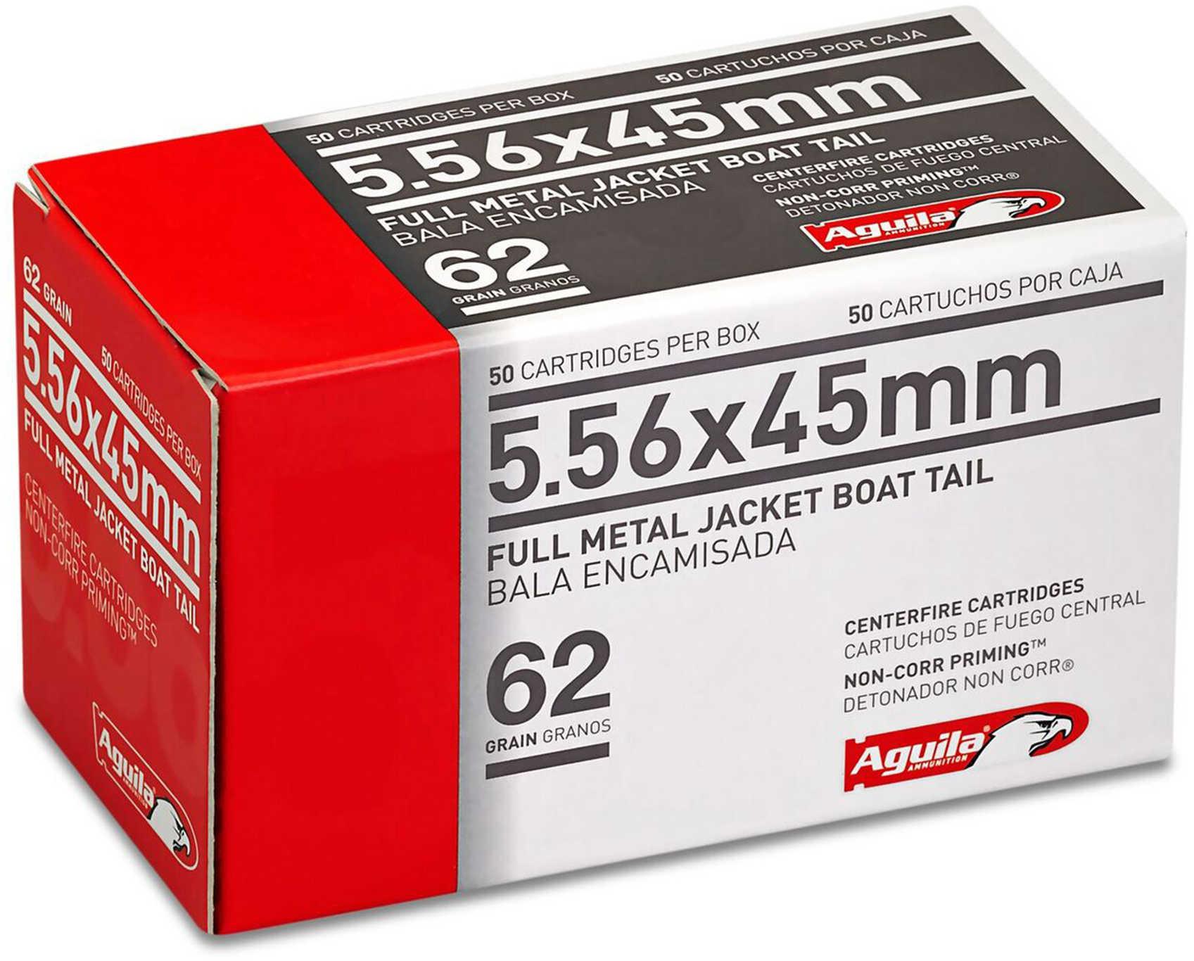 Aguila 1E556110 Rifle 223 Rem/5.56NATO 62 GR Full Metal Jacket Boat Tail (FMJBT) 50 Box