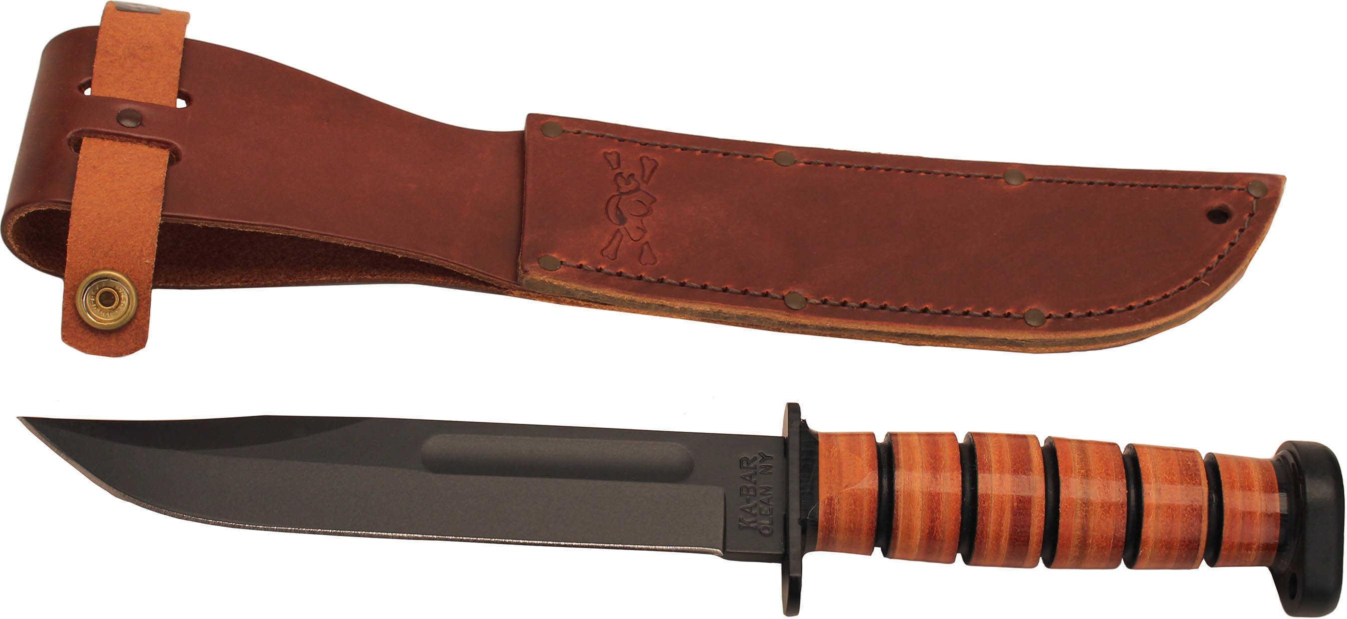 """Ka-Bar 1317 Dog''s Head Utility Knife 7"""" 1095 Cro-Van Clip Point Leather Hndl"""