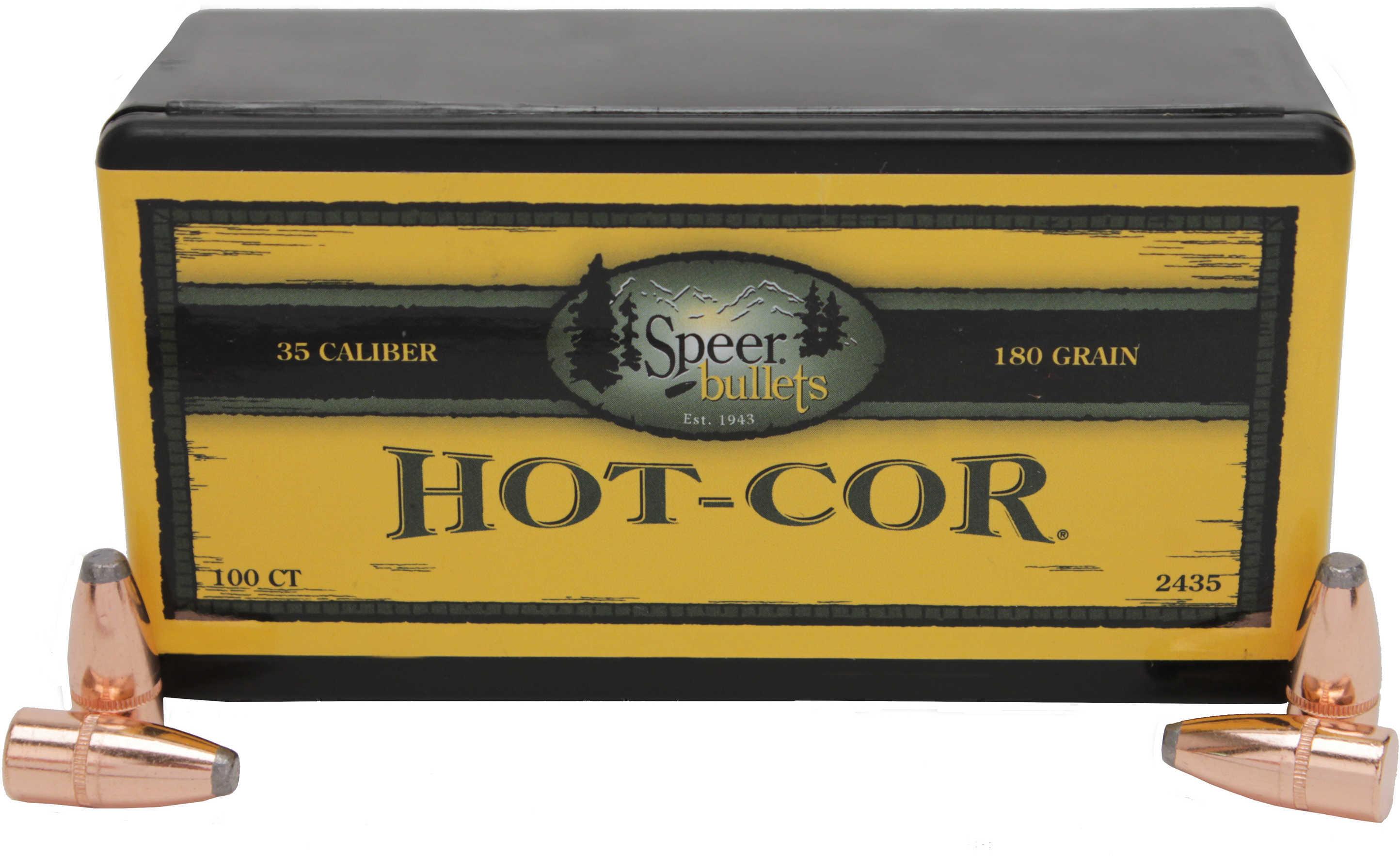 Speer 35 Caliber .358 Diameter 180 Grain Hot Cor Flat Nose Soft Point 100 Count