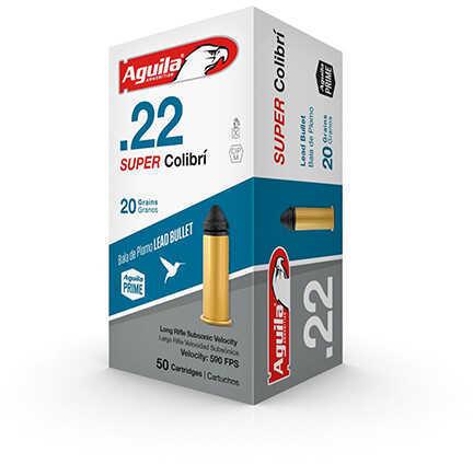 Aguila Ammunition .22 Long Rifle (LR) Super Colibri Ammunition, 20 Grains, Lead Solid Point, Per 50