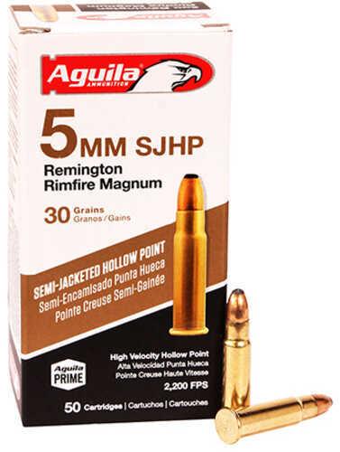 Aguila Ammunition 5mm Remington Magnum 30 Grains, Hollow Point, Per 50