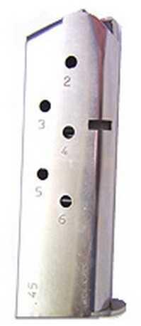 Mecgar 1911 6 Round Standard Nickel Md: MGCO4506N