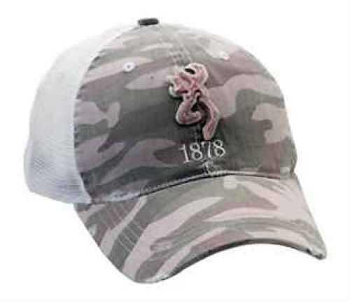 Browning TatterBrim Cap W/Felt Buckmark Camo/Pink Md: 308119241