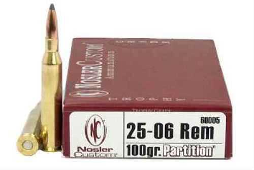 Nosler Trophy 25-06 Remington 100 Grain Partition Per 20 Ammunition Md: 60005