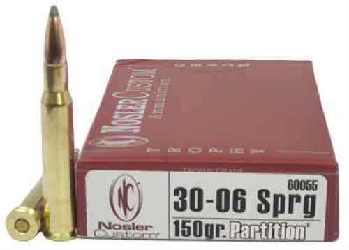 Nosler Trophy 30-06 Springfield 150 Grain Partition Per 20 Ammunition Md: 60055