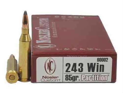 Nosler Trophy 243 Winchester 85 Grain Partition Per 20 Ammunition Md: 60002