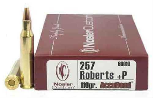 Nosler Trophy 257 Roberts +P 110 Grain Accubond Per 20 Ammunition Md: 60010