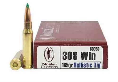 Nosler Trophy 308 Winchester 165 Grain Ballistic Tip Per 20 Ammunition Md: 60050