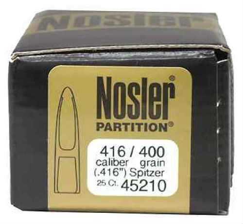 Nosler 416 Caliber 400 Grains Spitzer Partition (Per 25) Md: 45210 Bullets