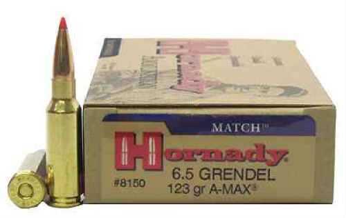 Hornady 6.5 Grendel 123gr A-Max Per 20 Md: 8150 Ammunition