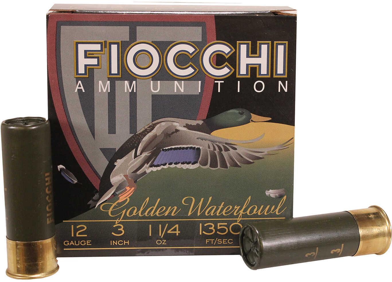 Fiocchi Golden Waterfowl 12 Gauge 3 Inch 1-1/4 Ounce #3 Shot Shotshells, 25 Rounds Per Box