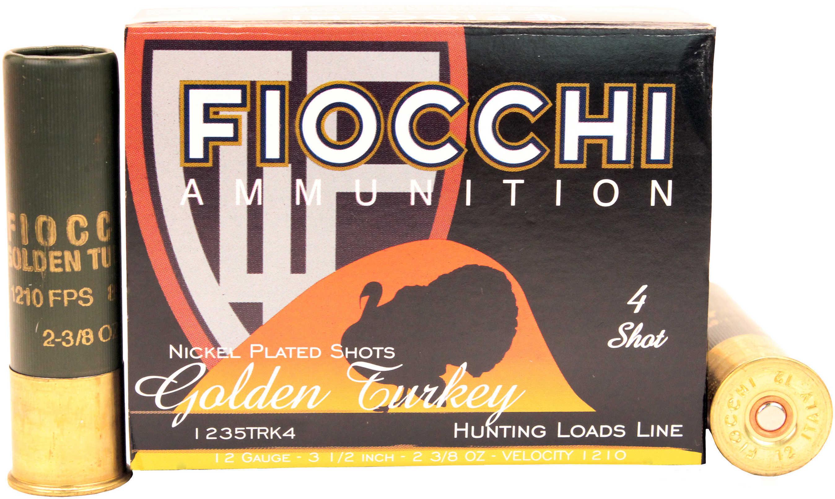Fiocchi Golden Turkey 12 Gauge 3.5 Inch 2-3/8 Ounce #4 Shot Shotshells, 10 Rounds Per Box