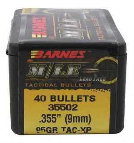 """Barnes Bullets .355"""" 95 Grains TAC-XP FB 9mm Bullet Per 40 Md: 35502"""