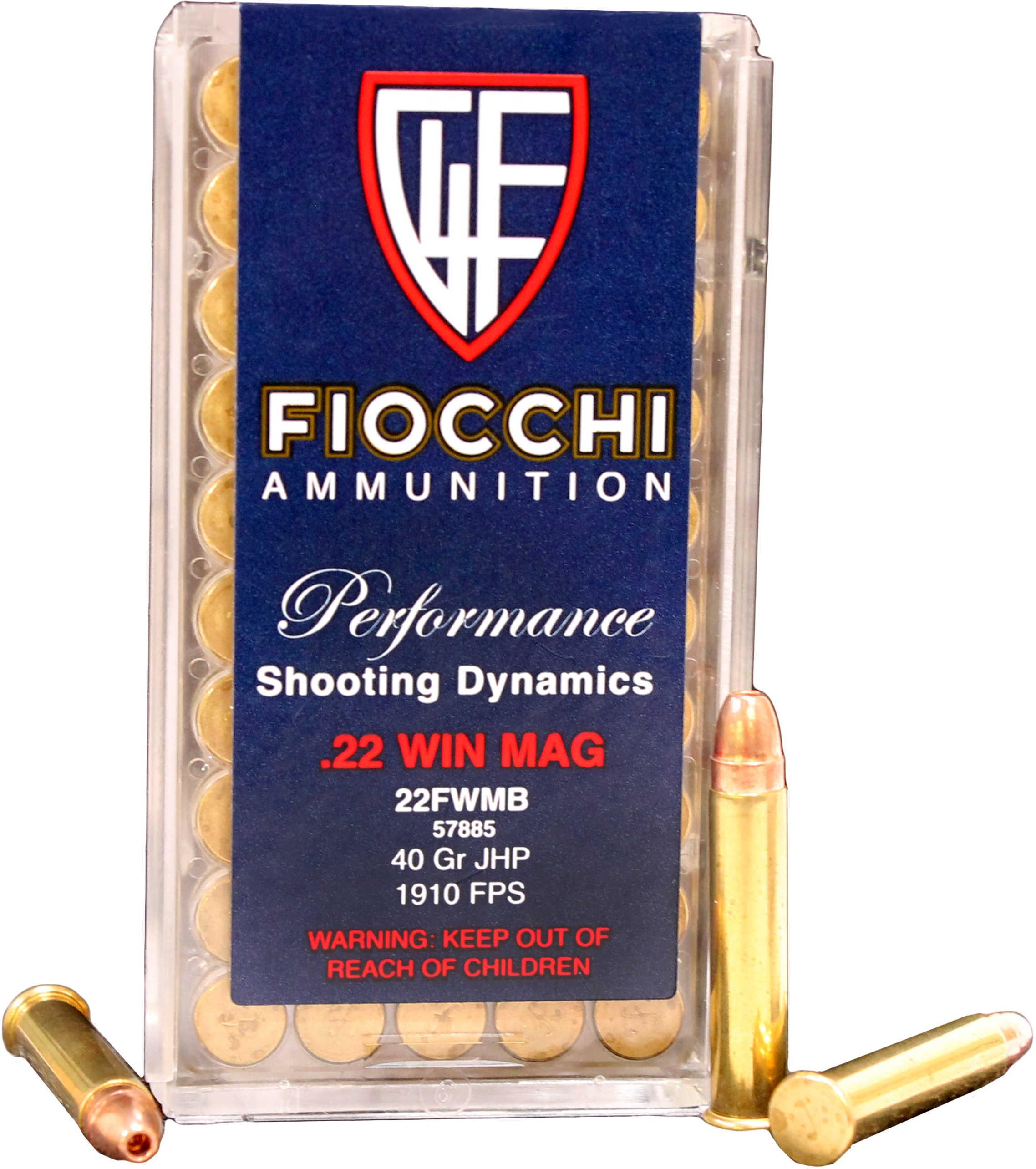 22 Magnum JHP 40 Grain 50 Rounds Fiocchi Pistol Ammunition