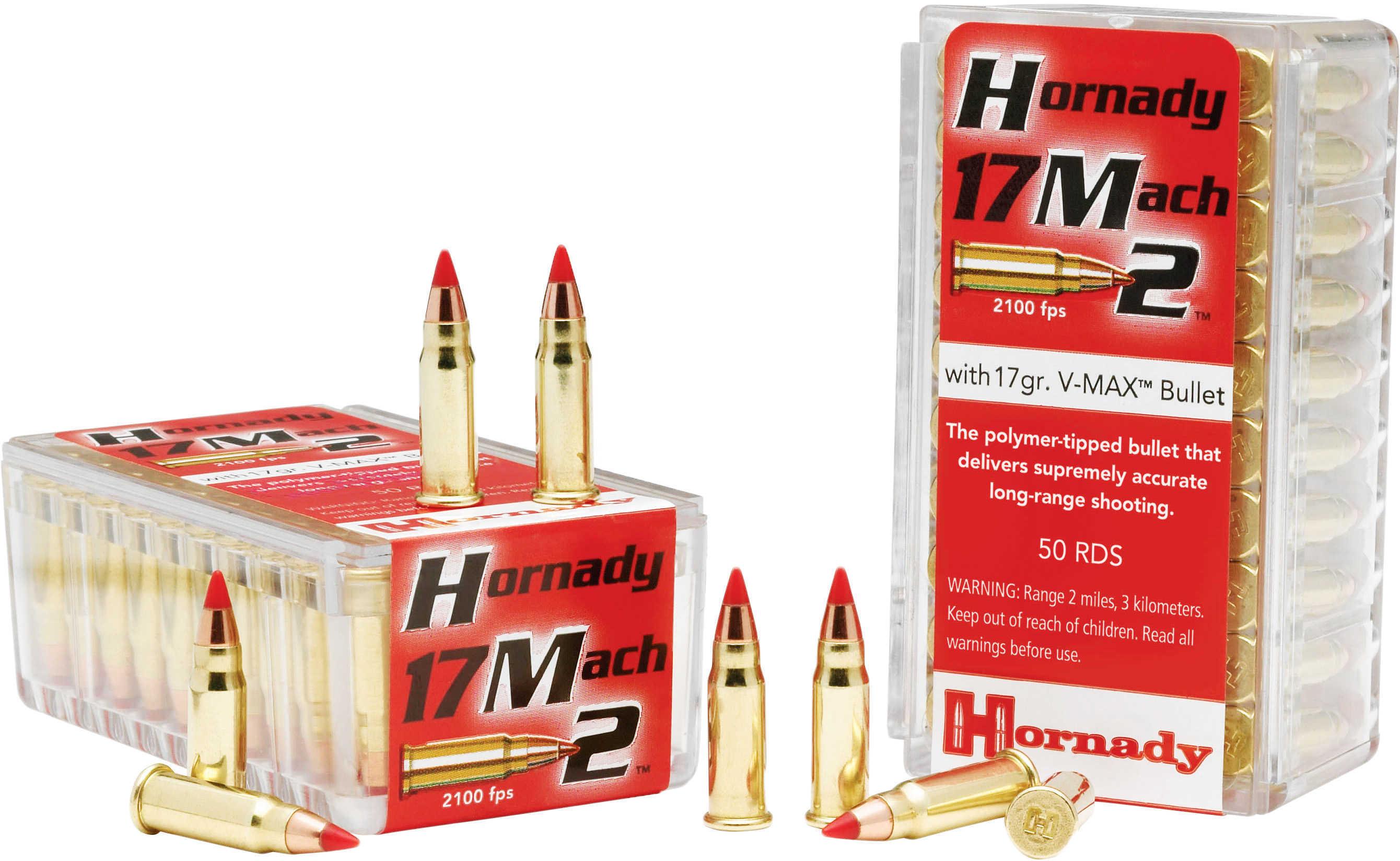 Hornady 17 Mach 2 17 Grain V-Max Ammunition 50 Rounds Per Box Md: 83177