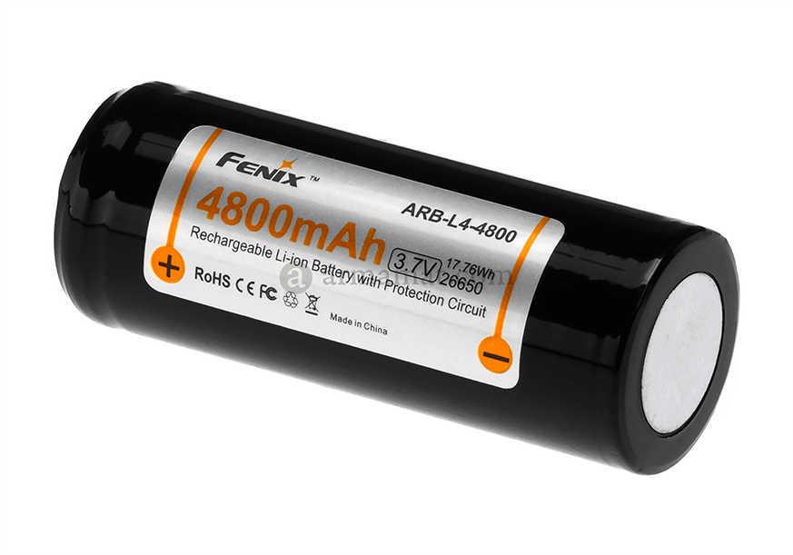 Fenix Flashlights Li-Ion 26650 (3.7V) 4800 mAh Rechargeable Battery Md: ARB-L4-4800