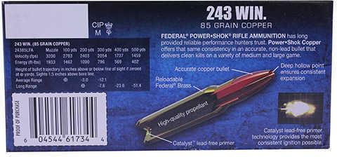 Federal PowerShok 243 Win 85 Grain Copper Lead Free 20 Round Box 24385LFA