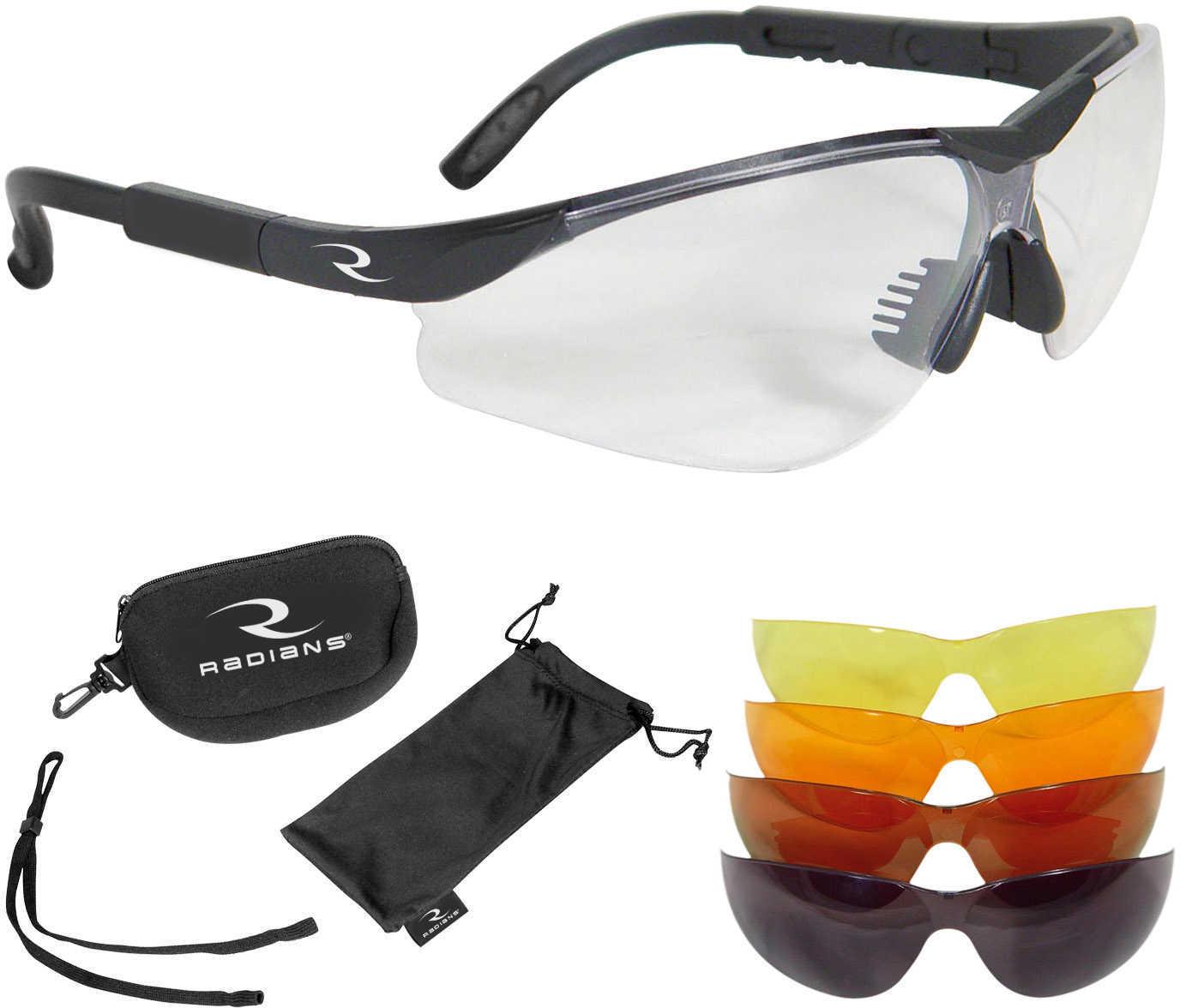 Radians T-85 Glasses Blk Frame Clear Copper Amber Orange Green Mirror Case/Cloth Bag/Neckcord T85RC