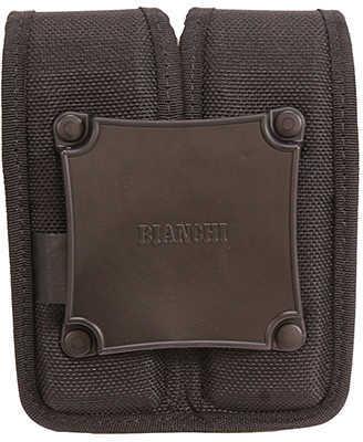 BIANCHI 7302Hs Double Magazine Pouch W/Snap SZ1 Black Nylon